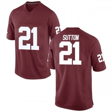 Men's Marcelias Sutton Oklahoma Sooners Game Crimson Football College Jersey