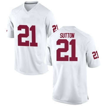 Men's Marcelias Sutton Oklahoma Sooners Game White Football College Jersey