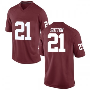Youth Marcelias Sutton Oklahoma Sooners Game Crimson Football College Jersey