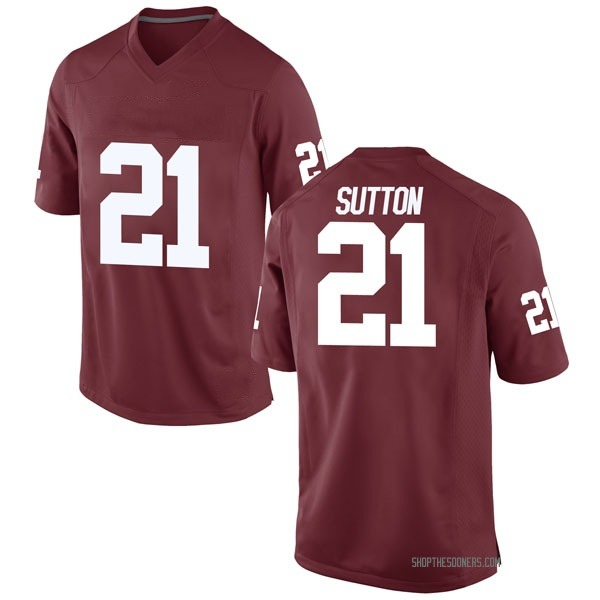Youth Marcelias Sutton Oklahoma Sooners Nike Game Crimson Football College Jersey